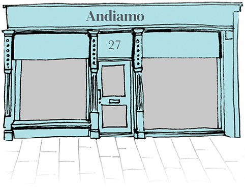 Drawing of the Andiamo shop front