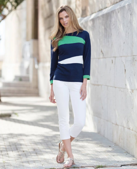 <strong>Marble</strong><br>Navy, Green and White Jumper<br>£54