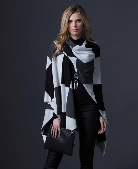 <strong>Marble</strong><br>Harlequin poncho<br>£79